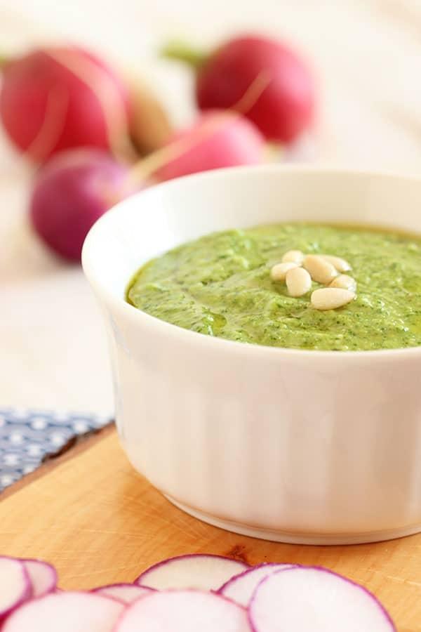 Easy Radish Green Pesto   The Suburban Soapbox #pesto #radish