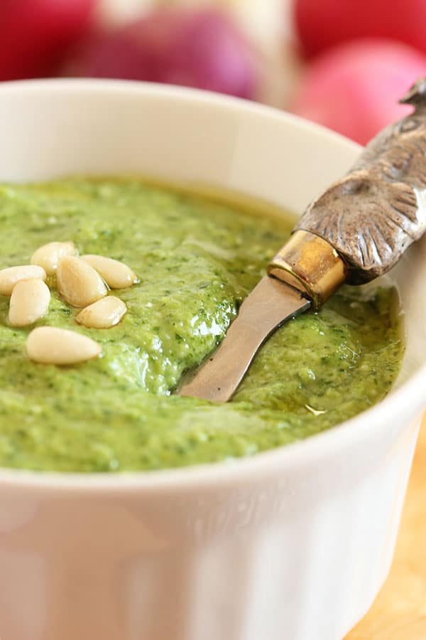 Easy Radish Green Pesto | The Suburban Soapbox #pesto #radish