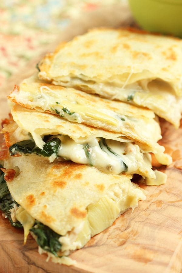 Spinach Artichoke and Chicken Quesadilla - The Suburban ...