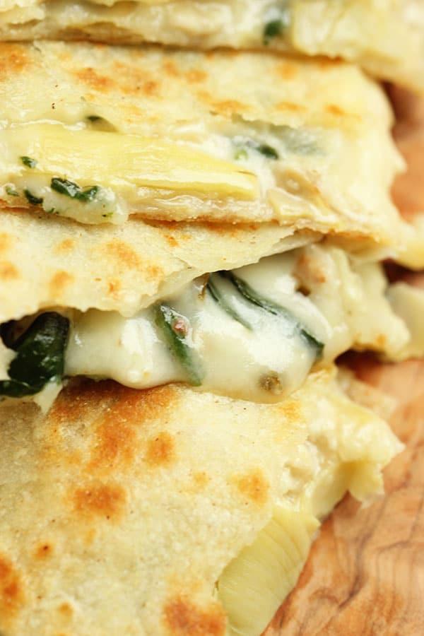 Spinach Artichoke and Chicken Quesadillas | The Suburban Soapbox #weeknightdinner #quesadilla