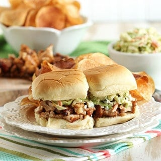 Barbecue Chicken Sliders with Broccoli Blue Cheese Slaw and Kettle Chips