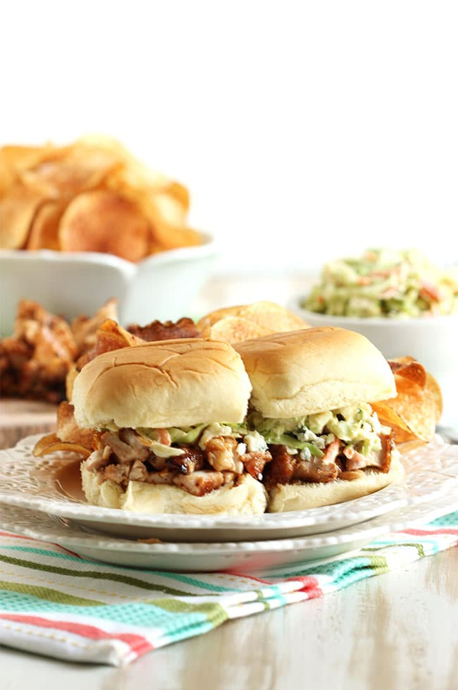 Barbecue Chicken Sliders with Broccoli Blue Cheese Slaw and Kettle Chips | The Suburban Soapbox #grilling #barbecue #potatochips
