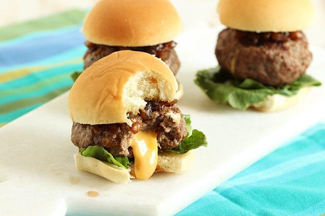 Cheese Stuffed Sliders with Balsamic Onion Jam // Video ...