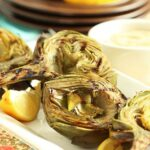 Grilled Artichokes with Garlic Asiago Dipping Sauce