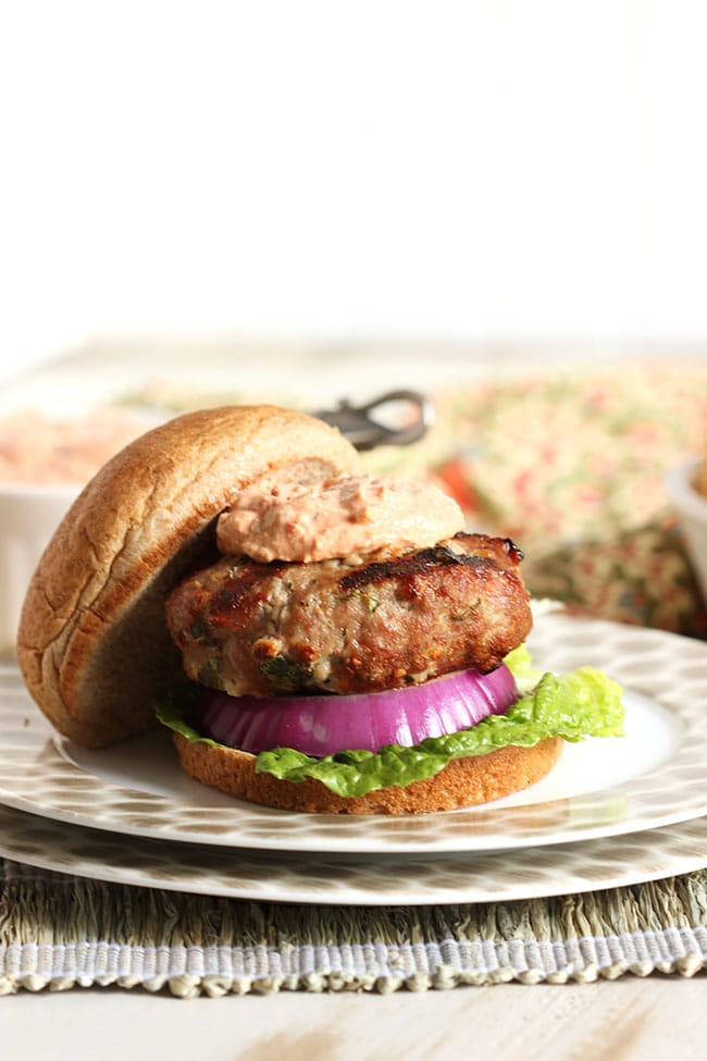 Spinach and Feta Burger with Sun-Dried Tomato Tzatziki | The Suburban Soapbox #grilling #turkeyburger