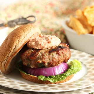 Spinach and Feta Turkey Burgers with Sun-Dried Tomato Tzatziki Sauce