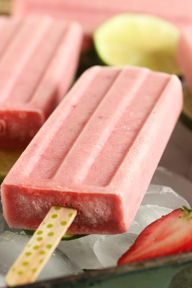 Strawberry Coconut Margarita Popsicles | The Suburban Soapbox #margarita #popsicle