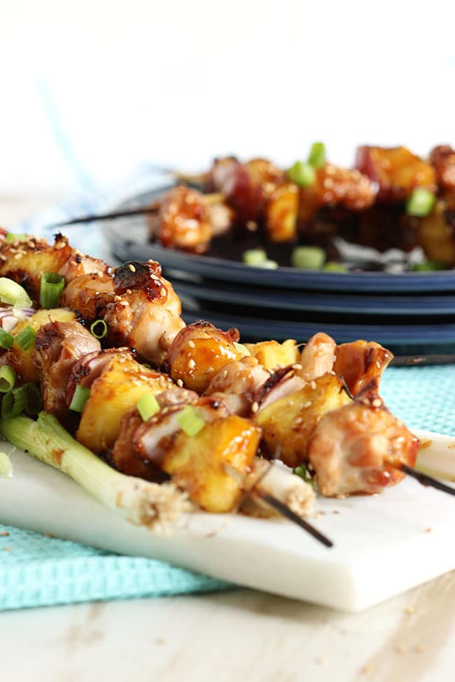 Grilled Teriyaki Glazed Chicken Kabobs | The Suburban Soapbox  #gatherroundgrilling #chicken