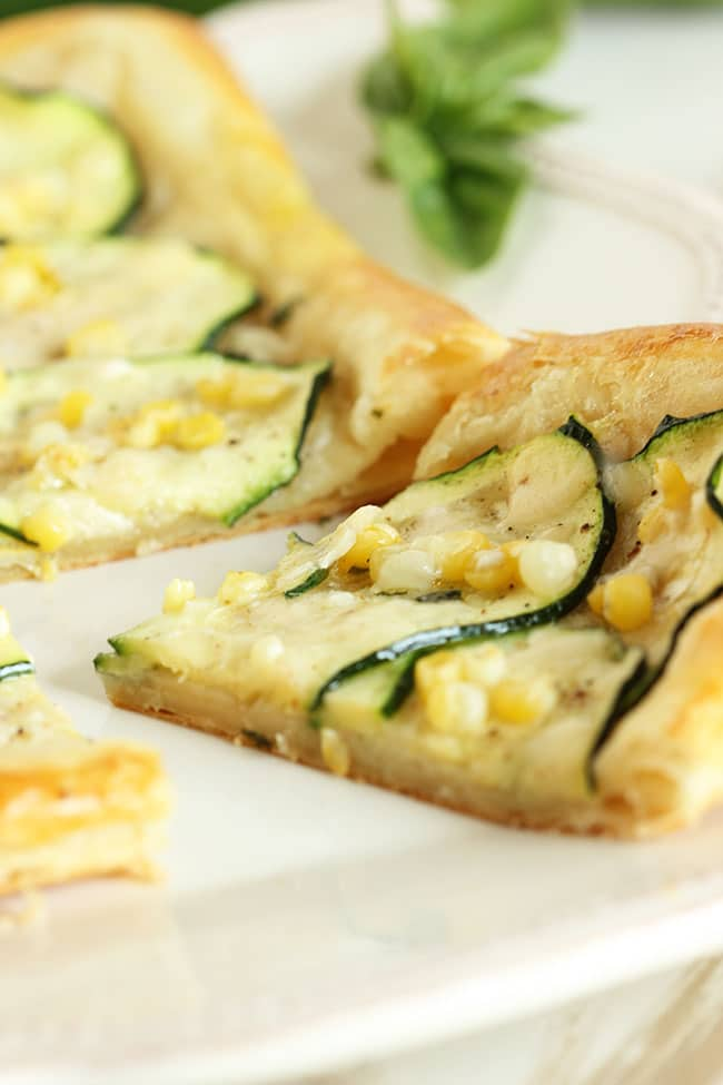 Zucchini Tart with Sweet Corn, Basil and Parmesan | The Suburban Soapbox #baking #howisummer
