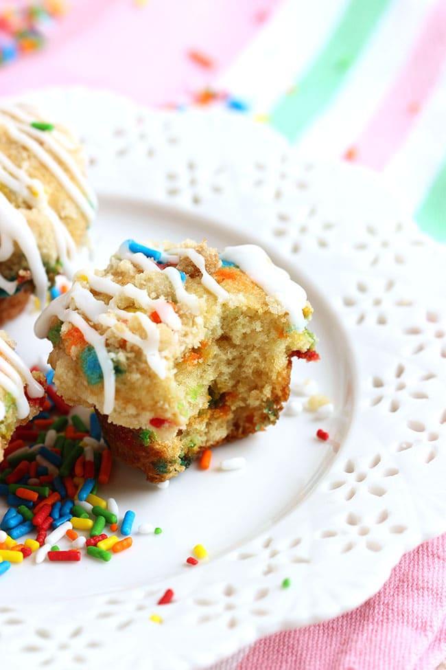 Funfetti Coffee Cake Muffins with Lemon Glaze | The Suburban Soapbox #funfetti