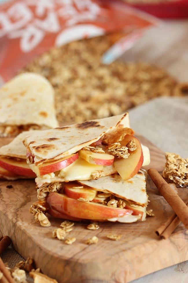 Crunchy Caramel Apple and Brie Quesadilla | The Suburban Soapbox #FueledByGranola