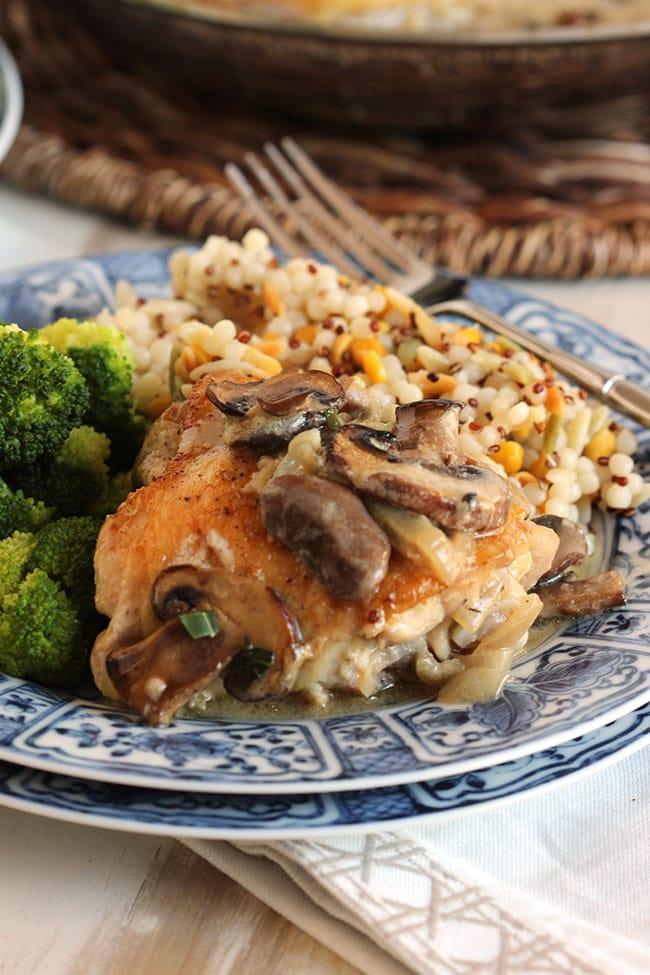 Pan Roasted Chicken Thighs with Creamy Mushroom Tarragon Sauce | The Suburban Soapbox