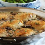 Pan Roasted Chicken Thighs with Creamy Mushroom Tarragon Sauce