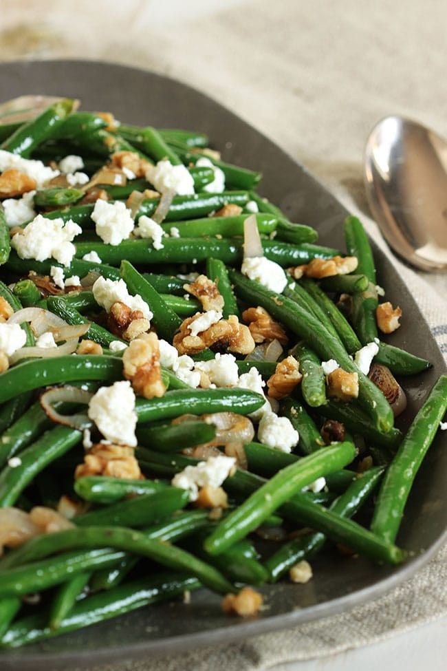 Green Beans With Goat Cheese Shallots And Walnuts The