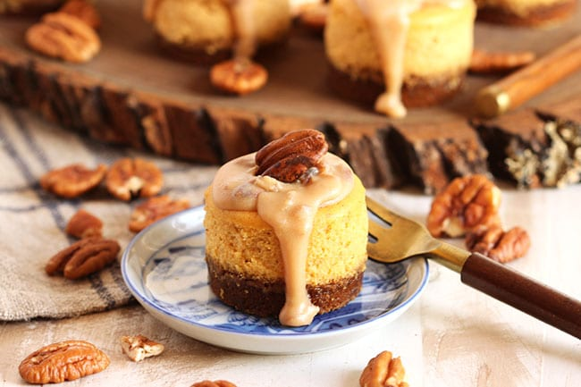 Mini Bourbon Pumpkin Praline Cheesecakes