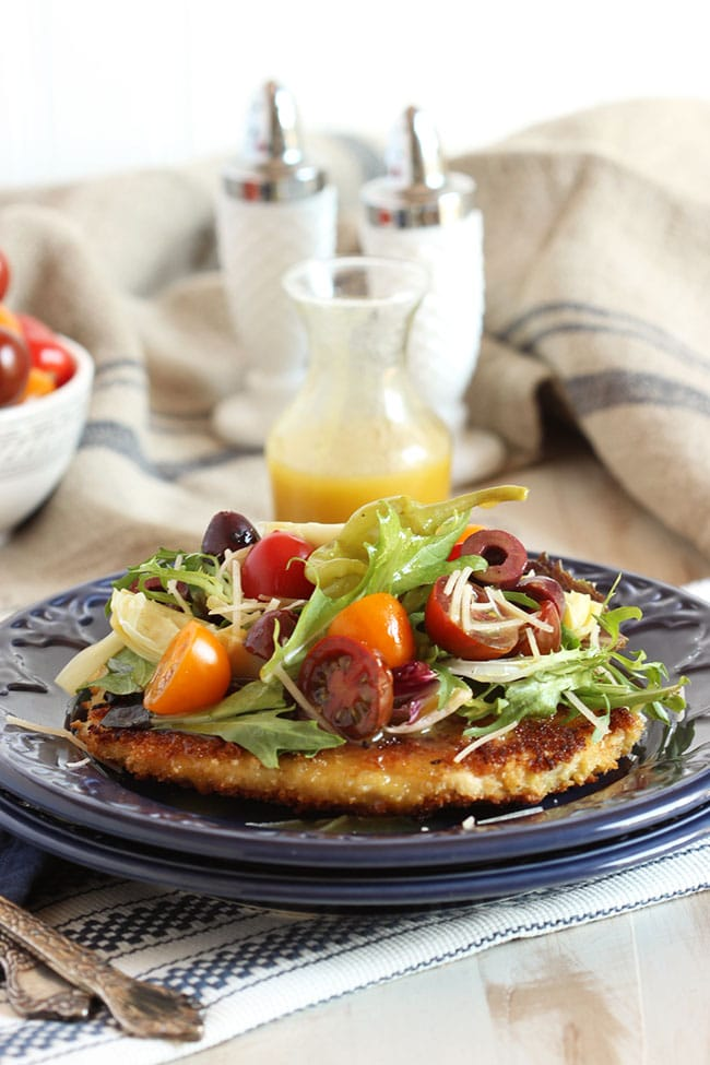 Chicken Milanese with Artichokes, Kalamata Olives and Maple Dijon Dressing | The Suburban Soapbox #natureraisedrecipes