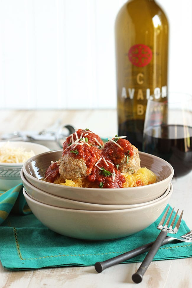 Slow Cooker Spaghetti Squash with Meatballs and Marinara | The Suburban Soapbox #slowcooker #spaghettisquash