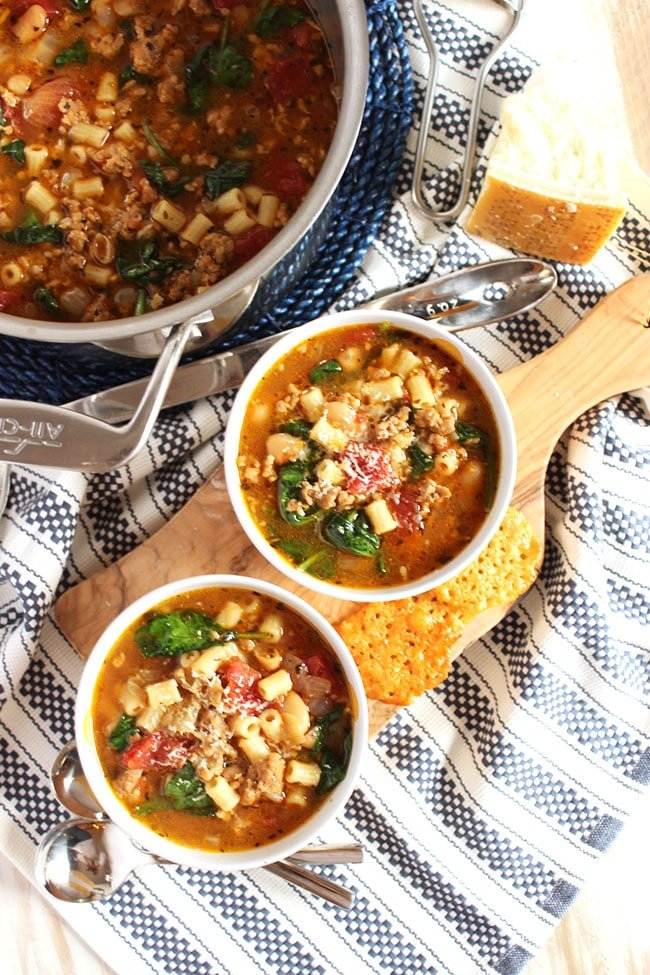 Italian Sausage Soup with White Beans and Spinach | The Suburban Soapbox