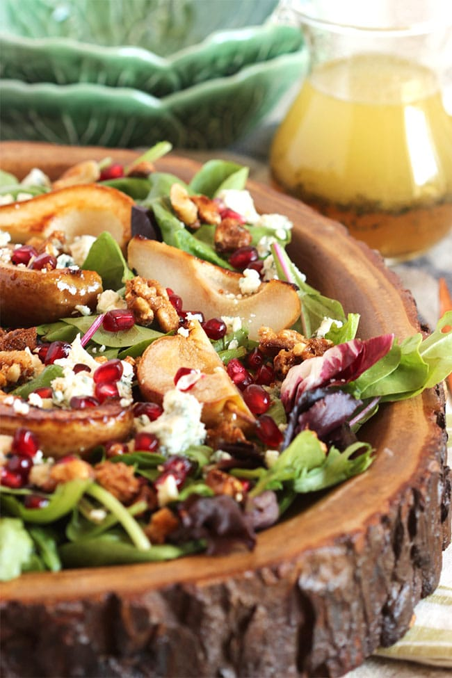 Bourbon Roasted Pear Salad with Gorgonzola and Candied Walnuts | The Suburban Soapbox
