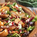 Bourbon Roasted Pear Salad with Gorgonzola and Candied Walnuts