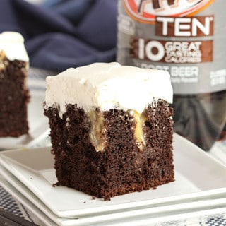Chocolate Root Beer Float Poke Cake