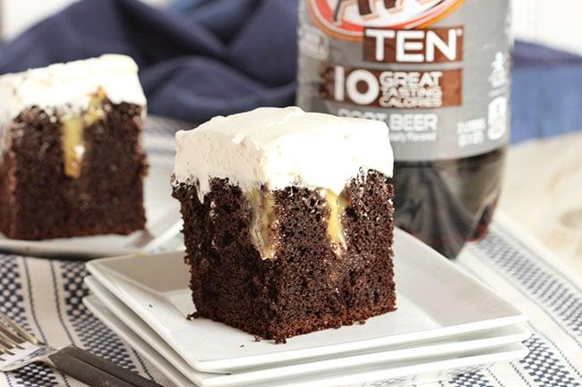 Root Beer Float Poke Cake