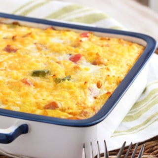 Ham Cheddar and Hash Brown Breakfast Casserole