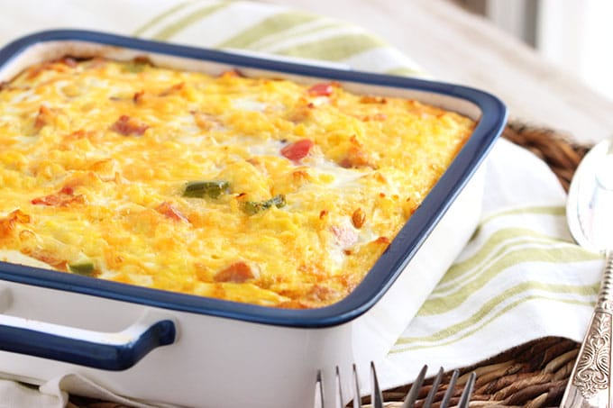 Ham Cheddar and Hash Brown Breakfast Casserole - The Suburban Soapbox