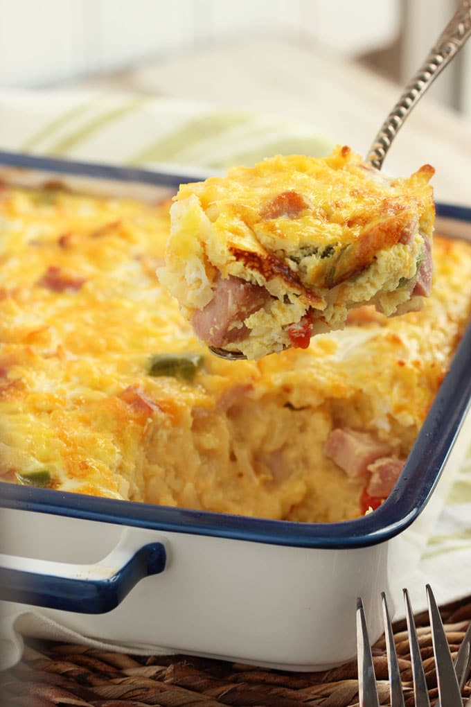 Ham, Cheddar and Hash Brown Casserole | The Suburban Soapbox #SmithfieldFlavor