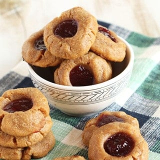 Gluten Free Peanut Butter and Jelly Thumbprint Cookies