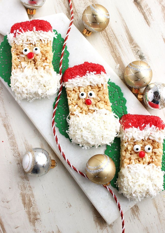 Super easy and kid-friendly, these Santa Rice Krispie Treats taste as good as they look! | TheSuburbanSoapbox.com