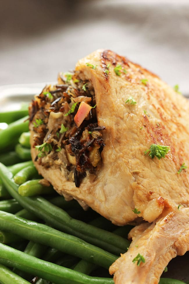 Stuffed Pork Chops with Wild Rice, Date and Apple Stuffing | The Suburban Soapbox #porksgiving