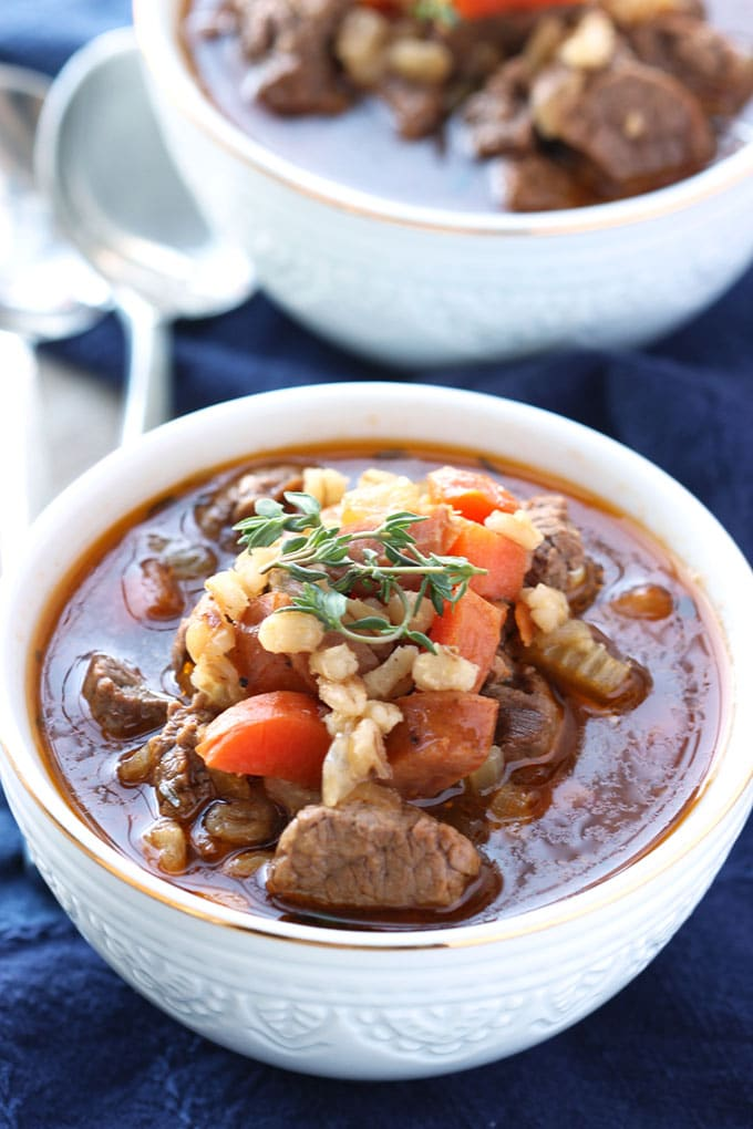 Beef and Barley Soup with Andouille Sausage | TheSuburbanSoapbox.com