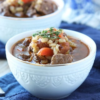 Beef and Barley Soup with Andouille Sausage