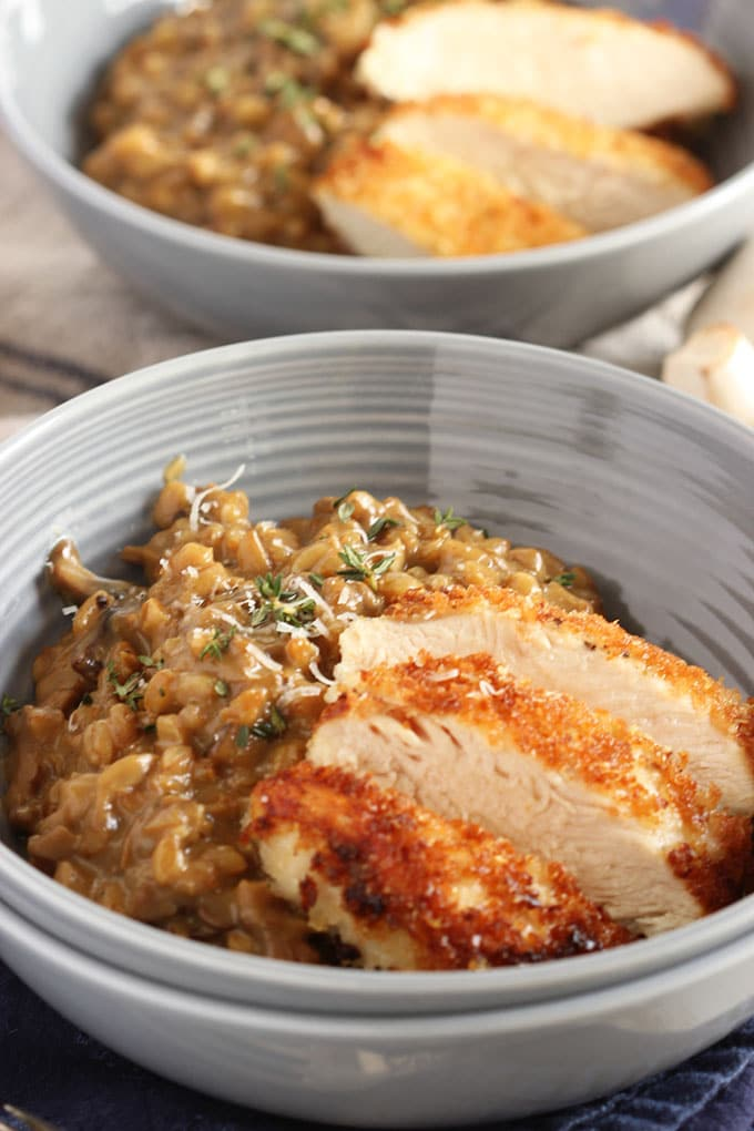 Mushroom Farro Risotto with Parmesan Crusted Chicken | TheSuburbanSoapbox.com #VillageHarvestInspired