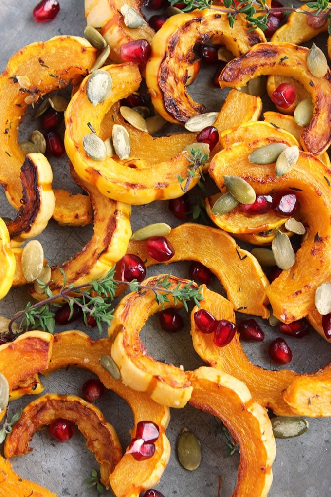 Roasted Delicata Squash with Pomegranate and Pumpkin Seeds   TheSuburbanSoapbox.com