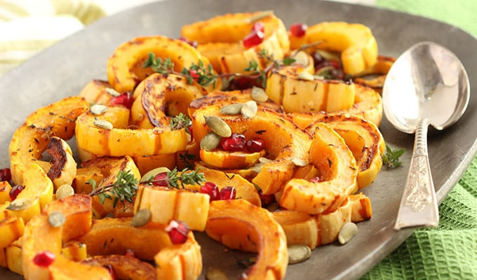 Roasted Delicata Squash with Pomegranate and Pumpkin Seeds