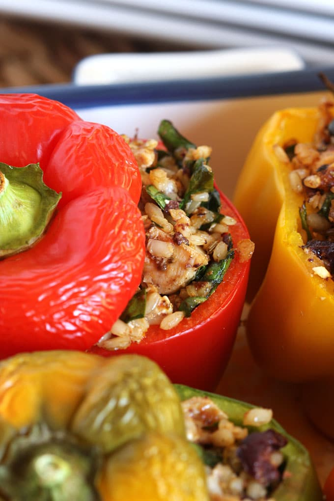 Greek Style Stuffed Peppers with Chicken Feta and Kalamata Olives | TheSuburbanSoapbox.com