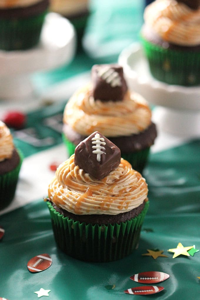 Snickers Cupcakes with Peanut Butter Frosting   TheSuburbanSoapbox.com #SweetenTheSpread