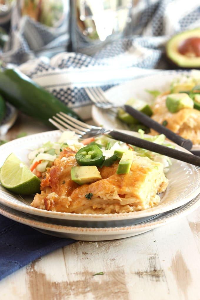 Slow Cooker White Chicken Enchilada Casserole | TheSuburbanSoapbox.com