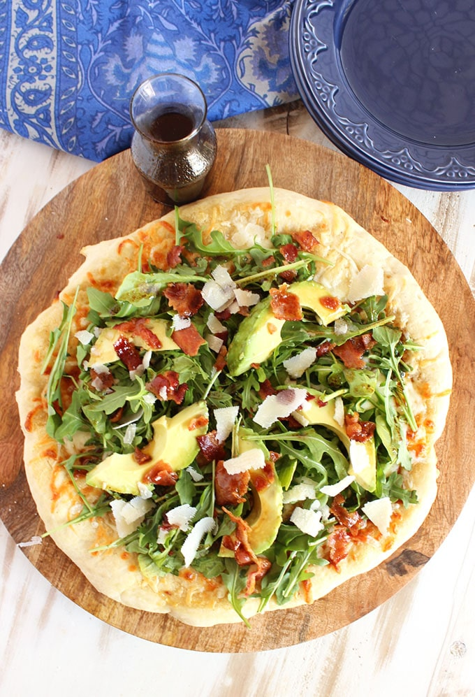 California Club Pizza with Honey Balsamic Vinaigrette | TheSuburbanSoapbox.com