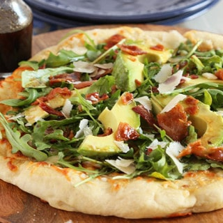 California Club Pizza with Honey Balsamic Vinaigrette