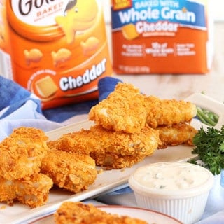 Crispy Baked Goldfish Cracker Fish Sticks