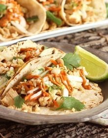 Thai Chicken Tacos with Spicy Peanut Sauce | TheSuburbanSoapbox.com