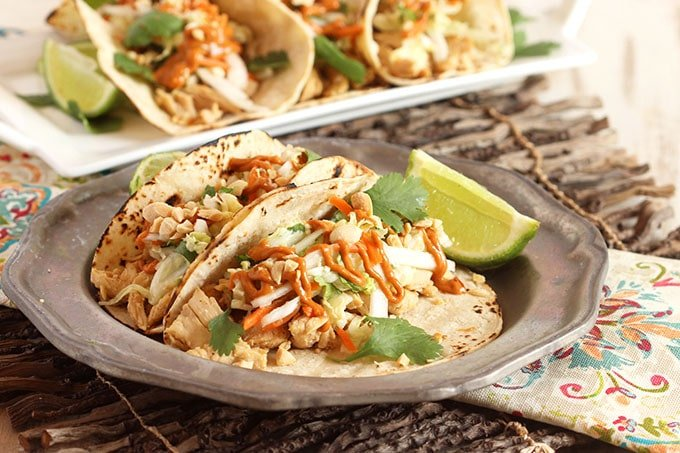 Spicy Peanut Chicken Tacos Recipe — Dishmaps