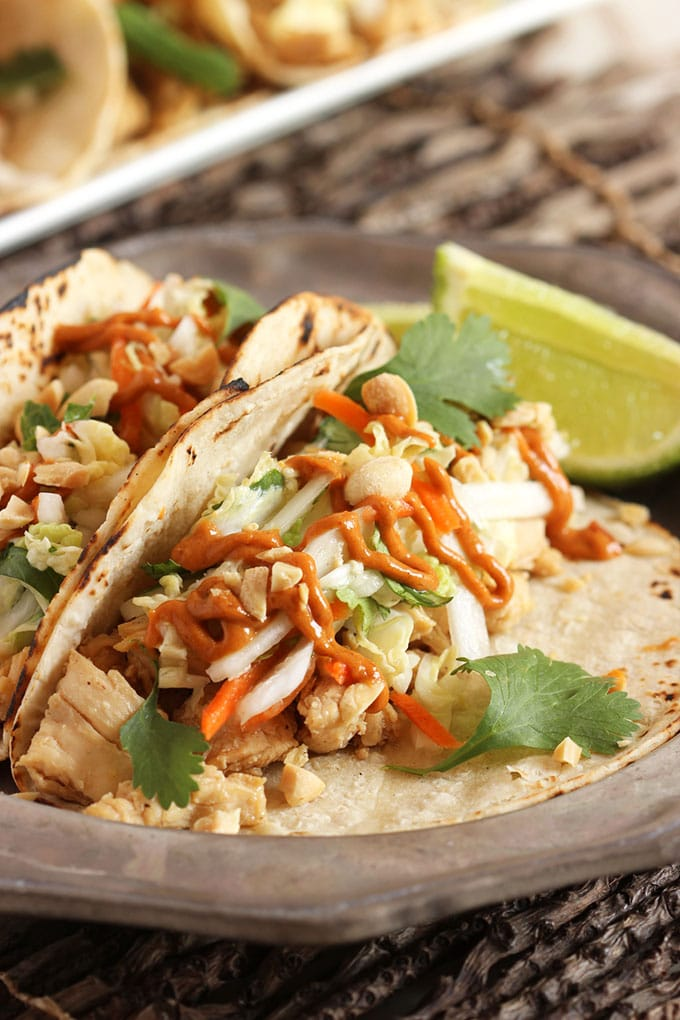 Thai Chicken Tacos with Spicy Peanut Sauce - The Suburban ...