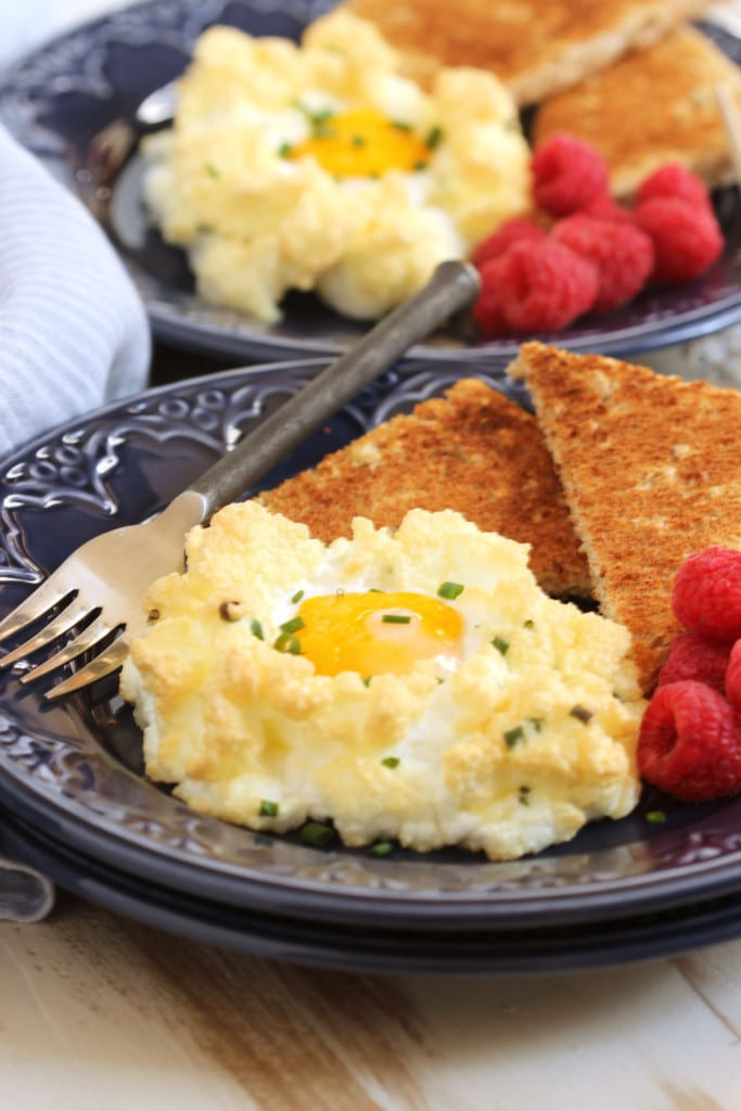 Eggs in a Cloud with Cheddar and Chives | TheSuburbanSoapbox.com