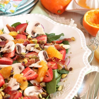 Citrus Spinach Salad with Strawberries and Bacon Vinaigrette