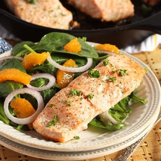 Oven Roasted Salmon with Orange Spinach Salad