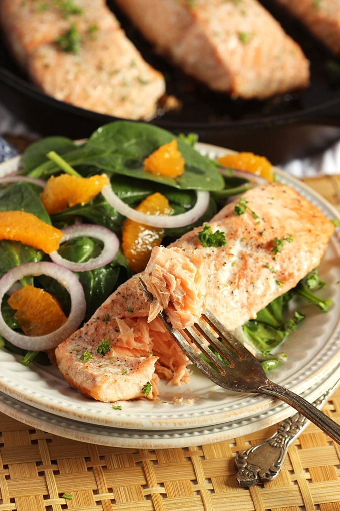 Oven Roasted Salmon with Orange Spinach Salad | TheSuburbanSoapbox.com